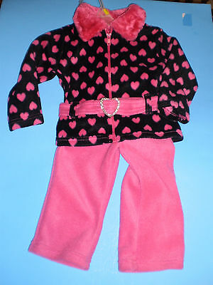 NEW KIDGETS Baby Girl 2 Piece Fleece Outfit Set Size 18 Months