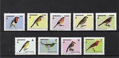 set of 9 mint bird themed stamps from zimbabwe
