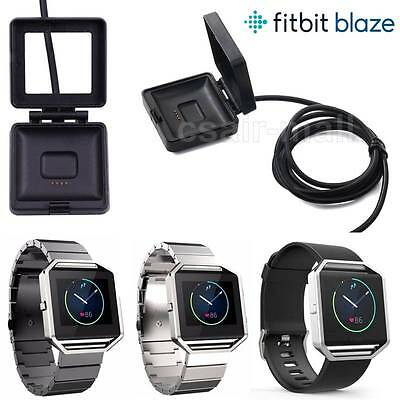 For Fitbit Blaze/Charge2 USB Charging Dock Power Charger Cable Metal Watch Strap