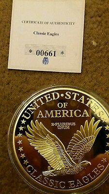 Liberty American Commerorative  Gold Plated Coin