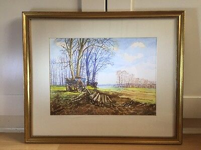 Charming Signed Watercolour Painting Of Wood Cutter In Gold Frame
