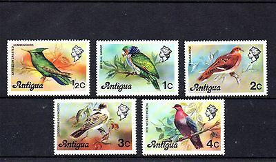 set of 5 mint bird themed stamps from antigua. 1976
