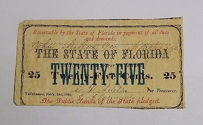 1868 Fractional Currency Twenty Five 25 Cent Note Florida Confederate Civil War