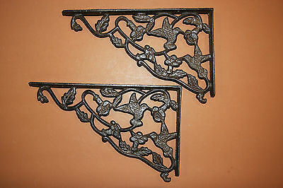 (9) LG ANTIQUE LOOK,shelf brackets,HUMMING BIRD,country decor,home, garden,B-40