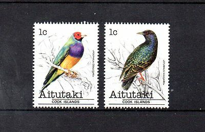 2 mint bird themed stamps from aitutaki