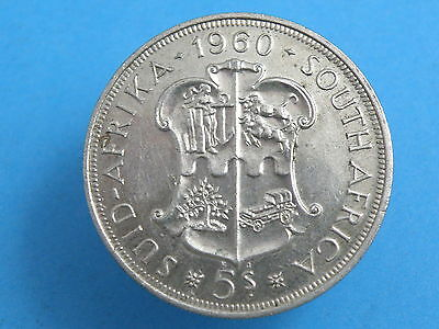 SOUTH AFRICA  - 1960  5 SHILLINGS CROWN SILVER COIN - Prooflike