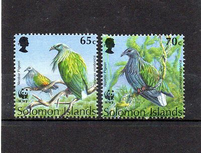 2 mint WWF bird themed stamps from solomon islands