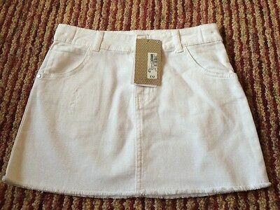 Girls White Denim Skirt By Marks And Spencer Age 10-11 Brand New With Tags