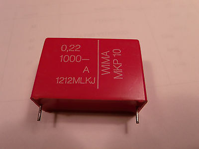 """1 x Wima MKP10 .22uF 220nF 1000V 1.5"""" pitch high voltage capacitor"""