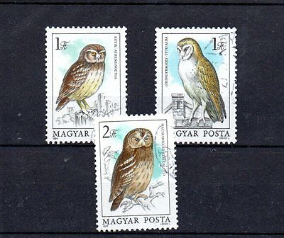 set of 3 used owl themed stamps from hungary