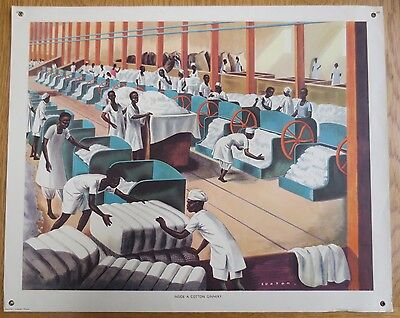 VINTAGE CLASSROOM POSTER 1950'S  Cotton Ginnery Old FACTORY Lupton Macmillans