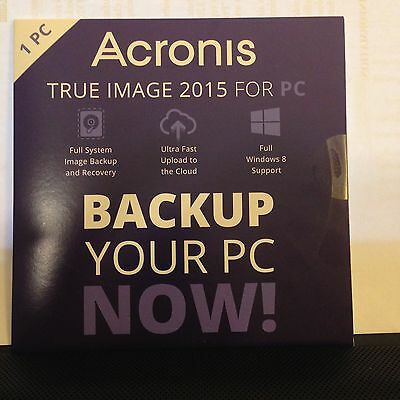 Acronis True Image 2015 for PC System Backup/Recovery Computer Software NEW NIP