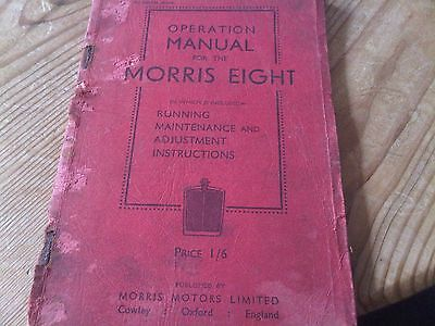 Operation Manual For the Morris Eight 8 1935 Owners Handbook Guide Maintenance