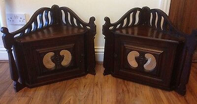 Pair Of Antique Wall Corner Cupboards.