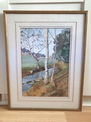 Lovely Vintage Signed Watercolour Painting Of River In Wood Frame