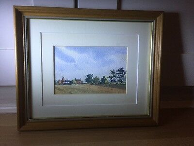 Charming Vintage Watercolour Painting Of Farm Scene In Wood Frame