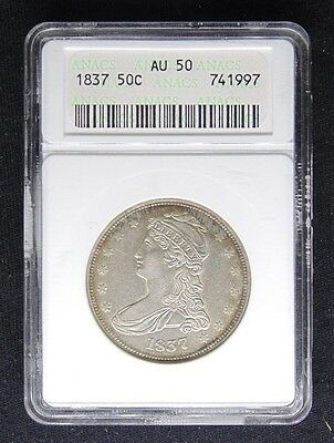 1837 Capped Bust Half Dollar Anacs Certified Au 50 About Uncirculated (997)