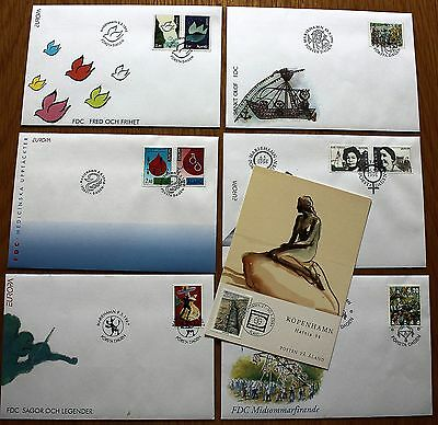 6 x 1994 - 1998 UNADDRESSED FDC's + P/CARD FROM ALAND WITH MARIEHAMN HANDSTAMPS