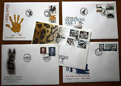 NICE LOT OF 5 DIFFERENT 1997 UNADDRESSED FDC's FROM SWEDEN VARIOUS HANDSTAMPS.