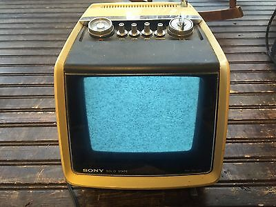 Vintage SONY Solid State Art Deco Space Age 9 Inch Black & White Television TV