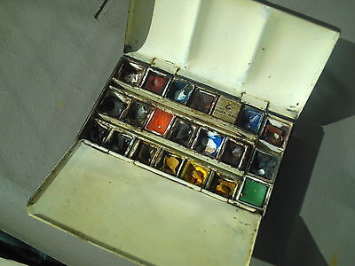 Antique Newton & Windsor Miniature Artist Paint Box Metal With Thumb Ring