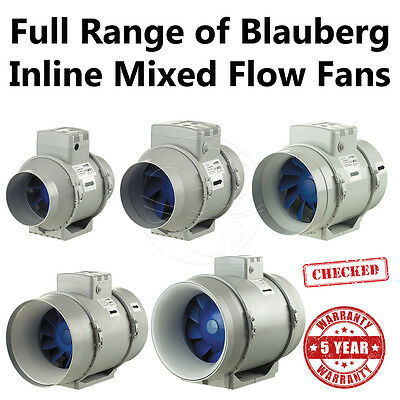 Inline Exhaust Fan Blauberg 4/5/6/8/10/12 Hydroponic Bathroom Ventilation 5-Year