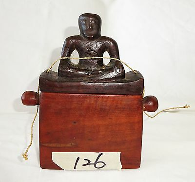 20CT Indonesian Sumba Tribe Wooden Mamuli Ceremonial Container w. Ancestor (Eic)