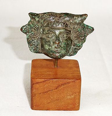 BC Ancient Roman Bronze Medusa Head Appliqué Mounted on Stand  (Mor)