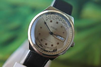 Men's Very Big Thickly Gold-Plated Ussr Raketa Watch 17 Jewels; Double Calendar!