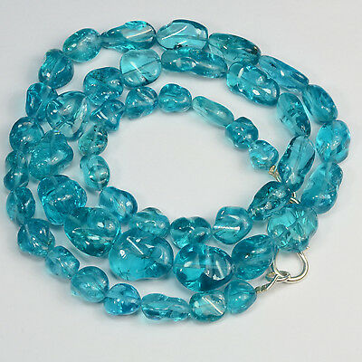 Neon Blue Apatite Tumbled Freeform Nugget  Beads 19 inch strand