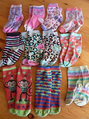 2-3 Years Socks Bundle Girls 11x Pairs Size 6-8.5 Colourful Totes Ankle Pink Red