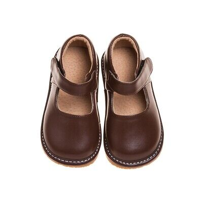 Girl's Toddler Leather Squeaky Mary Jane Shoes Solid Brown Sizes 1 to 7