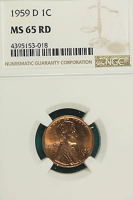 1959-D NGC MS65 RED Lincoln Memorial Cent!! #A7591