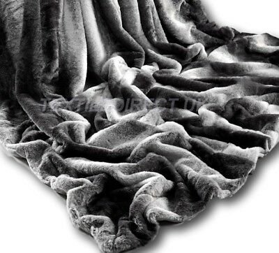 Charcoal Rabbit Faux Fur Throw Super Soft Plush Blanket Soft Warm Rug Bed New