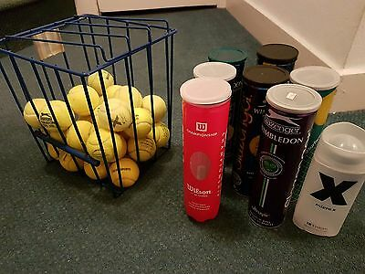 Lot of 30 Used Tennis Balls for Practice, Dog Play Toys including basket