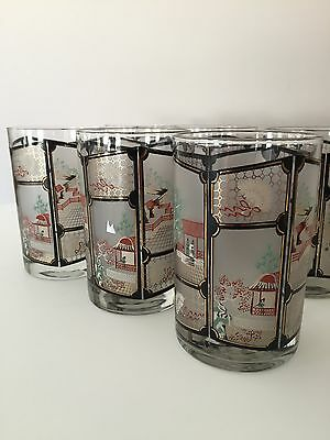 Cera Old Fashioneds Glasses Mid Century Oriental Design Set of 8 MINT