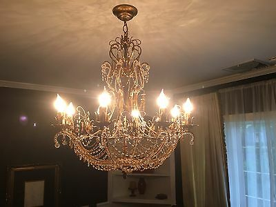 Italian Florentine Glass Chandelier, hand made in Italy