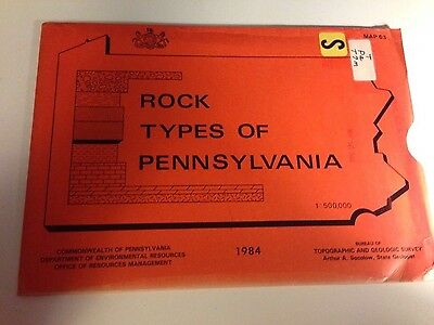 Vintage Maps-Rock Types Of Pennsylvania-Map 63-1984