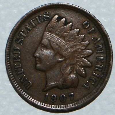 1907 Indian Head Penny One Cent Coin 1c US