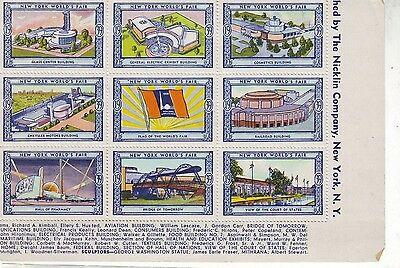USA US stamp:-1939 NEW YORK WORLDS FAIR STAMPS  Part ?  miniature sheetlet
