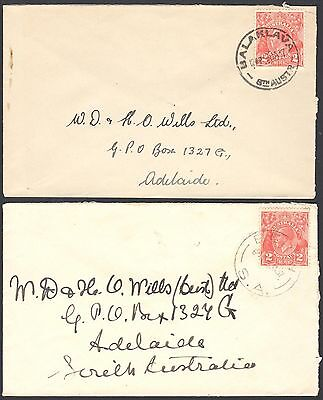 Australia 1937 commercial covers to a tobacco company with two pence KGV stamps