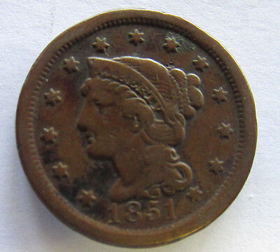 1851 Large Cent circulated US coin