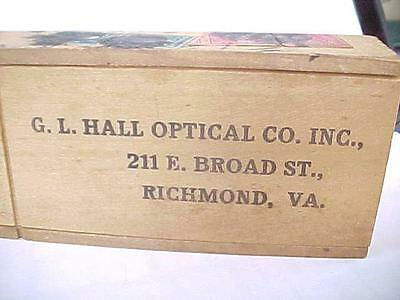 Antique 1915 SPECTACLES / Glasses WOOD SHIPPING BOX HALL OPTICAL RICHMOND VA
