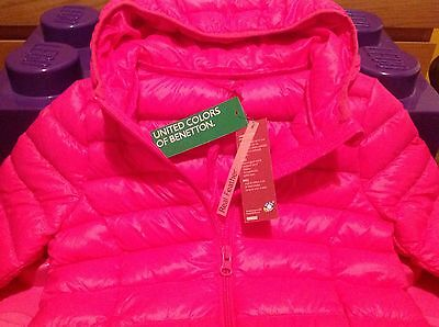 Girl's BNWT Benetton Pink Down Feather Hooded Puffa Jacket Winter Coat Age 4-5