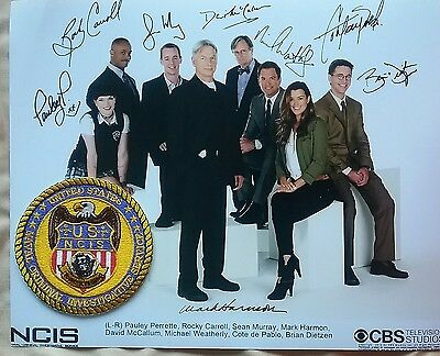 NCIS autographed cast photo (Reprint) with the Department Patch