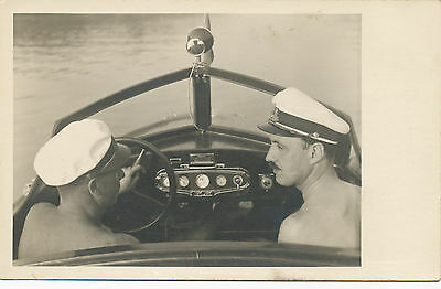 30s Two Shirtless Men from Back in Speedboat Gay Interest Old  photo