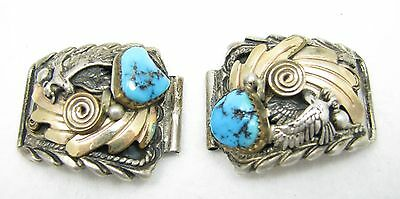 Navajo Sterling G.F. Morenci Turquoise Eagle Watch End Lug Tips Pieces -Signed-