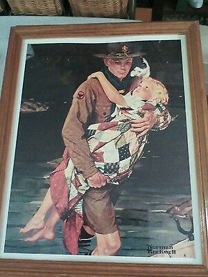 Norman Rockwell boy scout rescuing a baby