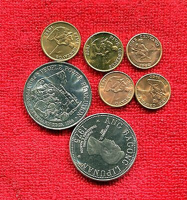 Philippines Lot Of 7 Bu Coins 2 Large Nr 8.95