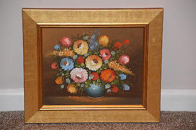 Oil Painting of vase of flowers in gold frame